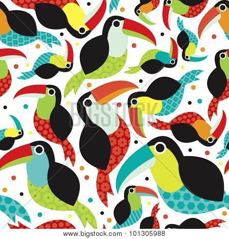 Seamless colorful gender neutral kids toucan birds tropical summer brazil jungle animals illustration background pattern in vector