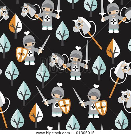 Seamless boys kids little knights and horses fun prince theme black mint and orange illustration background pattern in vector