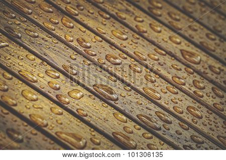 Water Drops On Wooden Floor