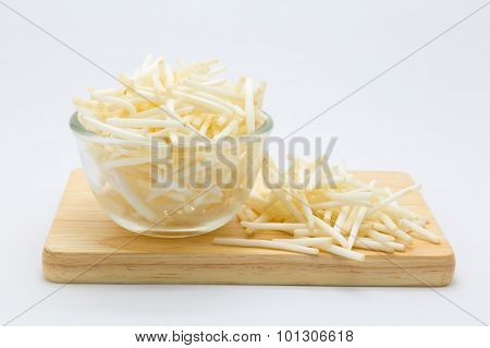 Bean sprout on glass bowl