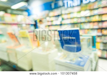 Blurred Book Store For Use As Background