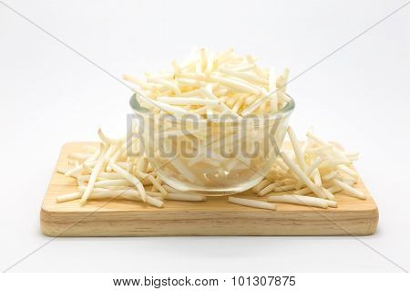 Bean sprout on wooden board