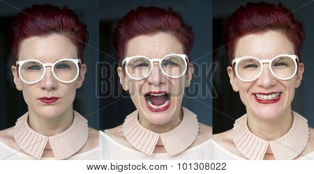 Three Different Facial Expressions Of Redhaired Woman