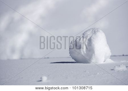 clump of snow, white winter background