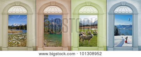 Background Design Four Seasons With Beautiful Mountain Landscapes Ii