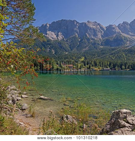 Beautiful Mountain Lake Eibsee And Zugspitze Massif