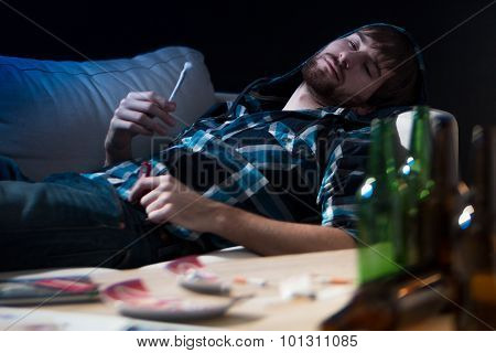 Intoxicated Guy With A Joint