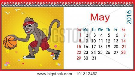 Horizontal Calendar With A Monkey In May