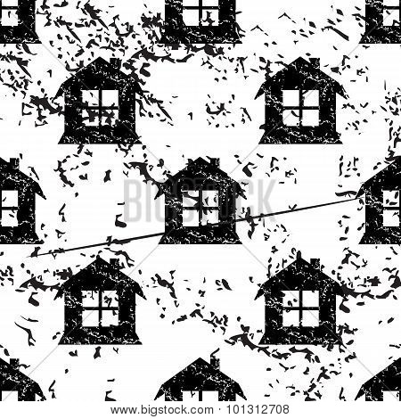 House pattern grunge, monochrome