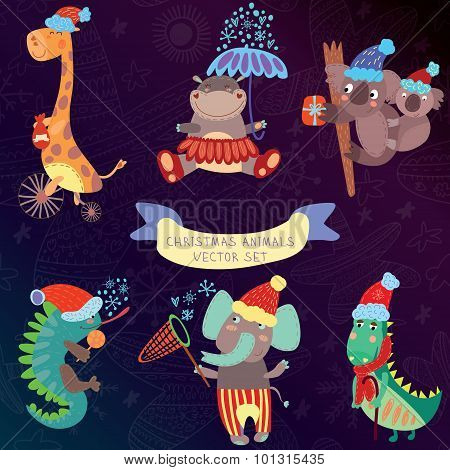 Cute Christmas Animal Set With Wild Animals From Africa.iguana, Giraffe, Hippo, Elephant, Crocodile,