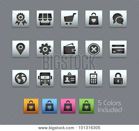 Online Store Icons The vector file includes 5 color versions for each icon in different layers ----