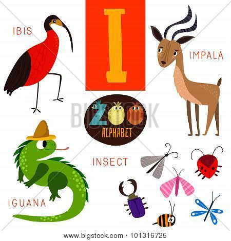 Cute Zoo Alphabet In Vector.i Letter. Funny Cartoon Animals:ibis,impala,iguana,insect. Alphabet Desi