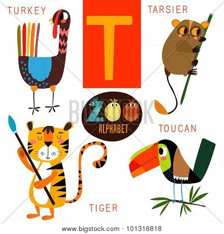 Cute Zoo Alphabet In Vector.t Letter. Funny Cartoon Animals:turkey, Tarsier,tiger,toucan. Alphabet D