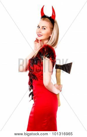 Smiling Female Demon With An Axe Behind Her Back