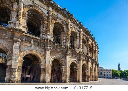 Roman amphitheater in Nimes, Provence. Magnificent huge arena perfectly preserved for two thousand years