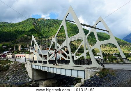 View Of Mestia Futuristic Modern Bridge,upper Svaneti, Georgia,transcaucasia