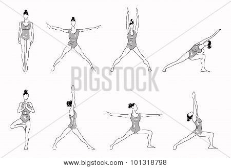 Complex of yoga stretching poses