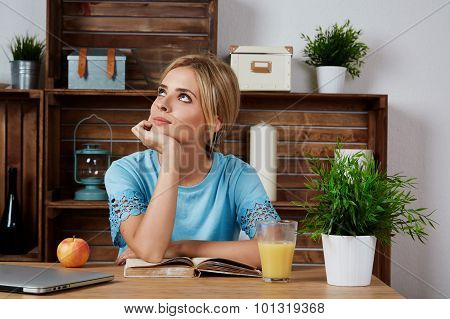 Lovely Young Woman Working On Laptop Computer At Home, Attractive Blonde Hair Student Using Laptop I