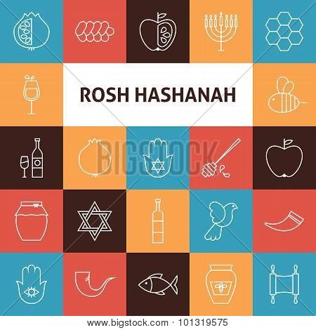 Line Art Rosh Hashanah Jewish New Year Holiday Icons Set
