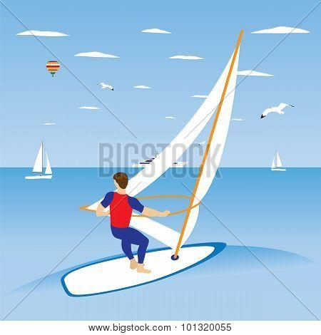 Windsurfer On Ocean Wave.