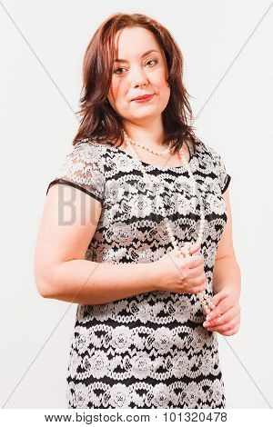 Nice woman on white background
