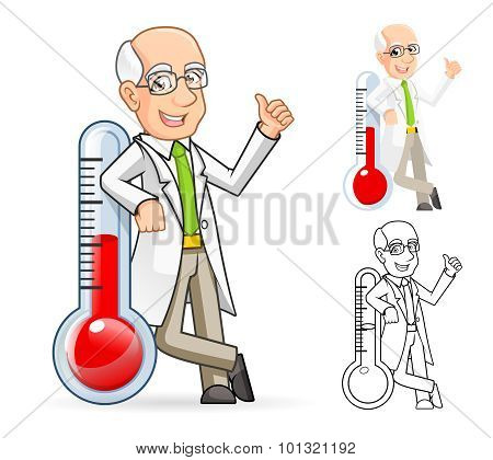 Scientist Cartoon Character Leaning Against a Temperature