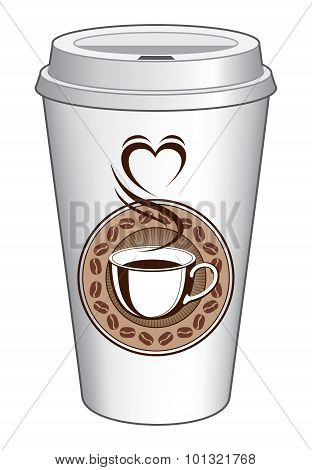 Coffee To Go Cup Design With Steaming Heart