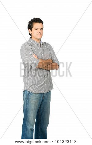 Critical Judgmental Hispanic Man Arms Crossed V