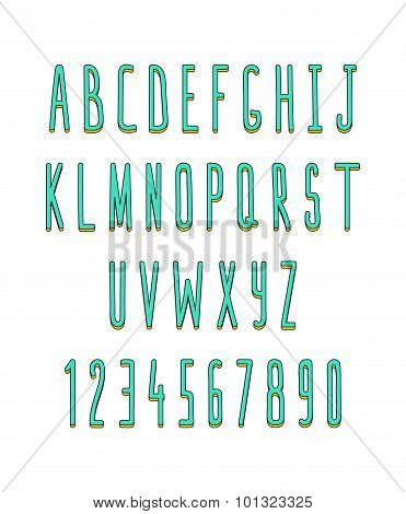 Volume set of letters and numbers, handmade. Sketch font