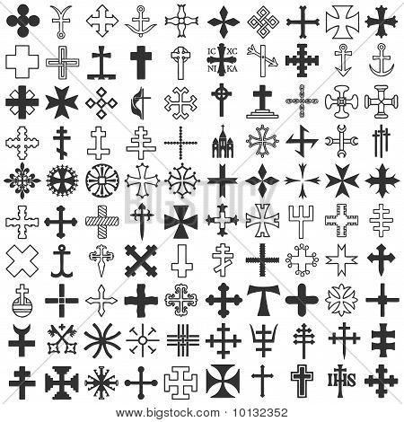 Set various religious symbols Christian