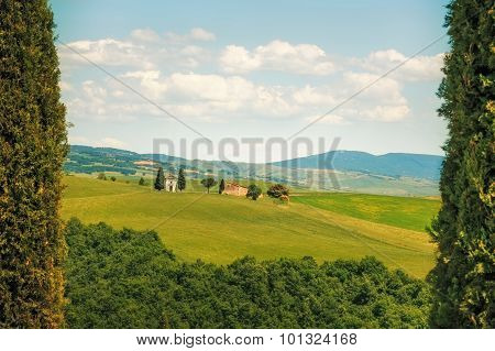 Tuscany Landscape, Cypress Trees And Vitaleta Chapel On Back, Val D Orcia, Italy