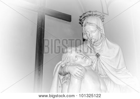 Artistic Black And White Edit Of Pieta Statue - Virgin Mary Holding Dead Jesus Christ