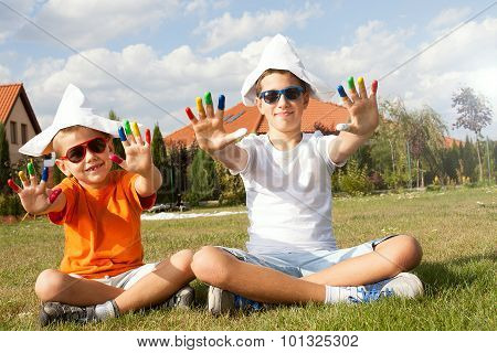 Two Brothers Playing Outdoor.