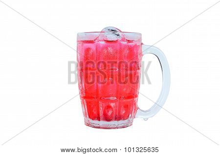 Isolated Shot Of Red Soft Drink Grass With White Background
