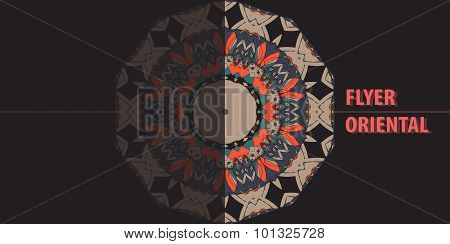 Print Blank Flyer. Abstract Retro Ornate Half Mandala Background for greeting card, Brochure, Card o