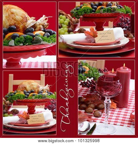Red And White Thanksgiving Table Collage
