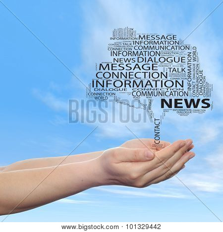 Concept or conceptual tree contact word cloud tagcloud in man or woman hand on blue sky background