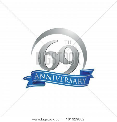 69th anniversary ring logo blue ribbon