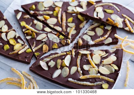 Almonds, orange peel and salt chocolate bark