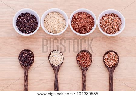 Collection Of Whole Grain Thai Jasmine Rice,rice Berry And Brown Rice Best Rice For Healthy And Clea