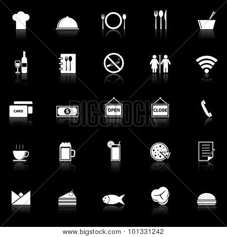 Restaurant Icons With Reflect On Black Background