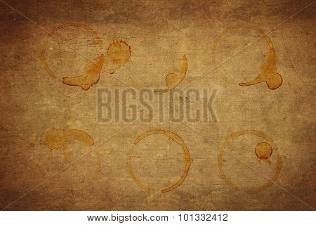 Coffee Stains And Coffee Cup Stains On Old Paper Background.