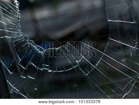 Closeup Of Smashed Glass Window