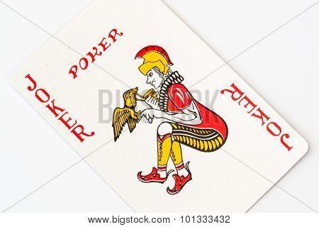 Macro Studio Image Of A Red Joker Playing Card