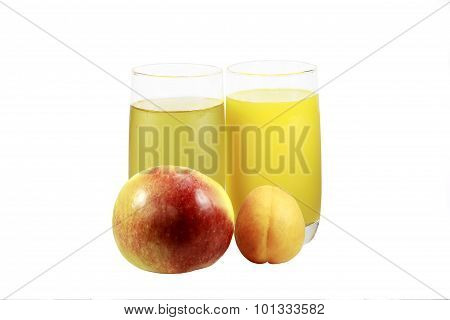 Two Glasses With Apple And Apricot Juices And Apple With Apricot