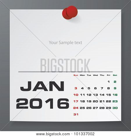 January 2016 Calendar on white paper with free space for your sample text.