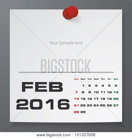 February 2016 Calendar on white paper with free space for your sample text.