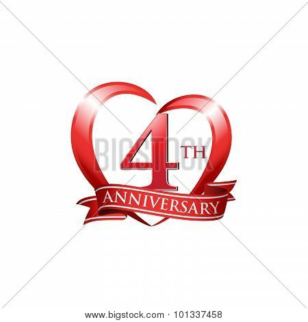 4th anniversary logo red heart ribbon