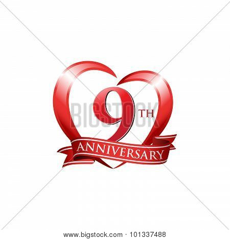 9th anniversary logo red heart ribbon