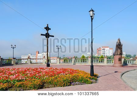 Cross And Monument Of Patriarch Alexy Ii On Assumption Mountain, Vitebsk, Belarus